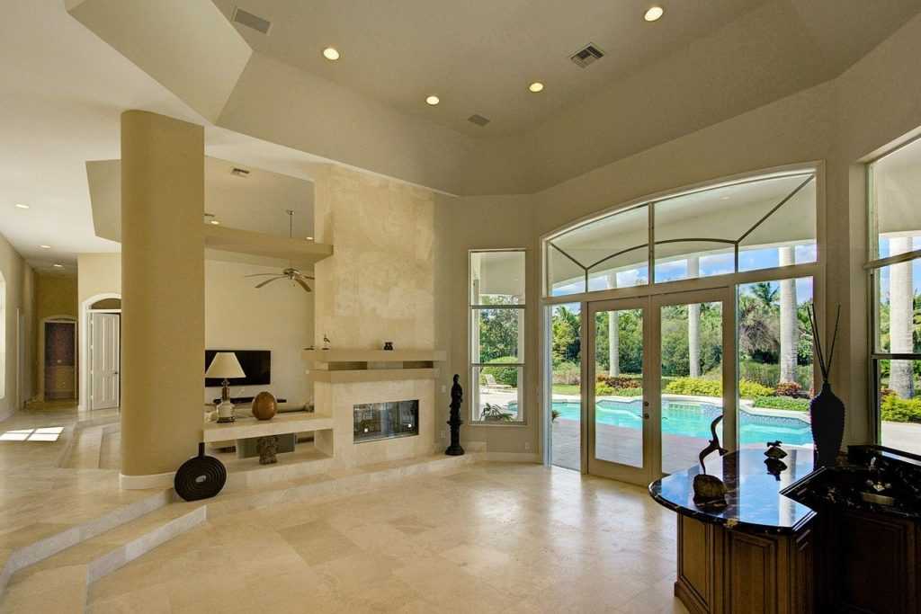 living room, fireplace, private estate